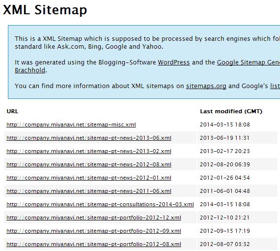 存在しない sitemap.xml へアクセスすると バーチャルなアーカイブごとの xml ファイル表示に切り替わっている